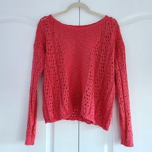 2/$40 Aeropostale Coral Open Knit Sweater